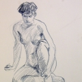 life drawing in coloured pencil - Rosie 09-03-17