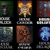 Designs for the house clan symbols of Necromunda.  Based on Wayne England's designs.