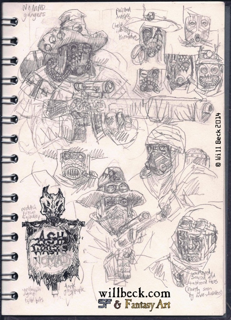 Necromunda Ash Waste nomad sketches. Fan art.
