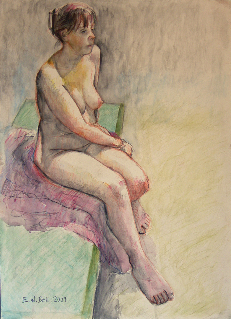 2009 watercolour pencils and inks life drawing