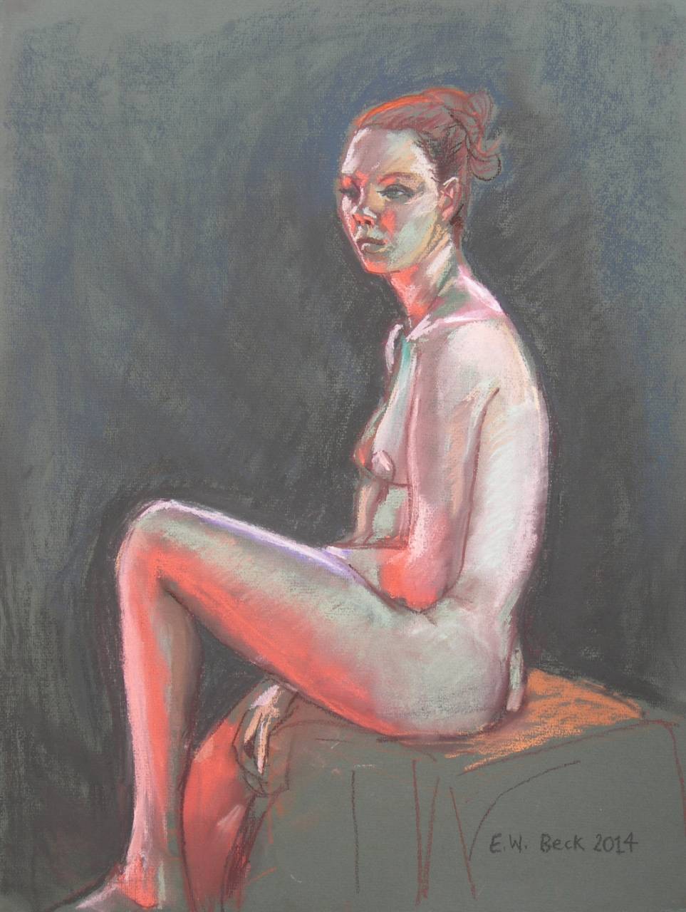 life drawing in pastels - 'Sonja' 2014