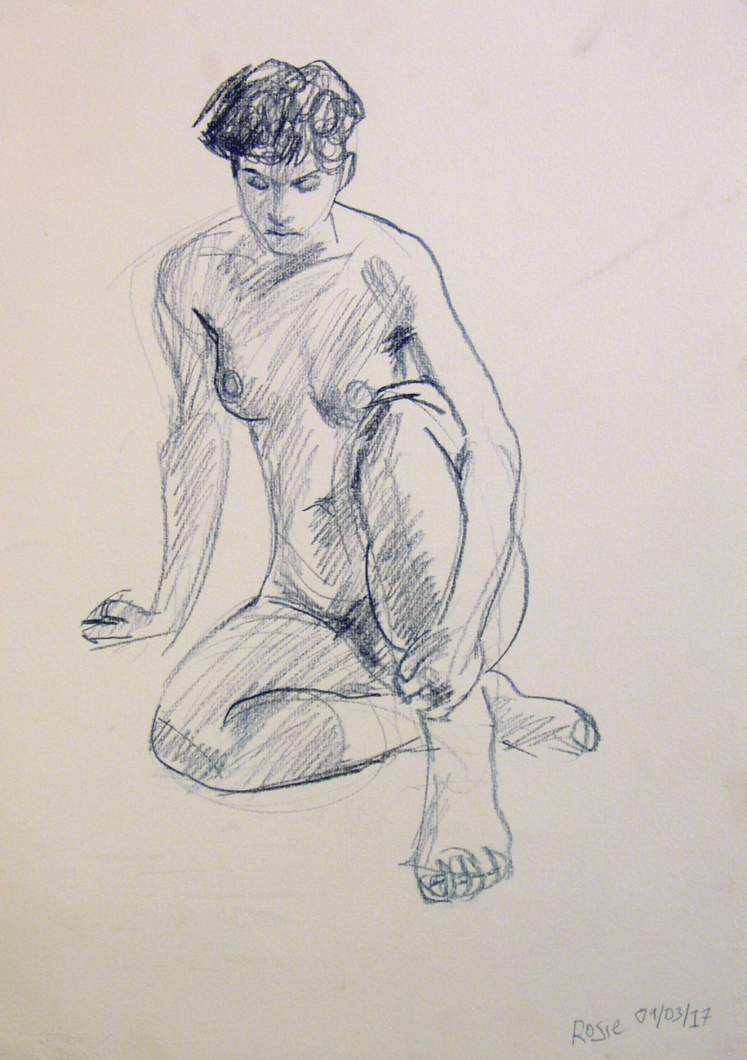 life drawing in coloured pencil - 'Rosie' 09-03-17