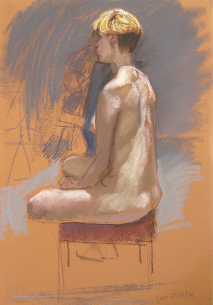 life drawing in pastels - 'Agnes' 13-10-2016
