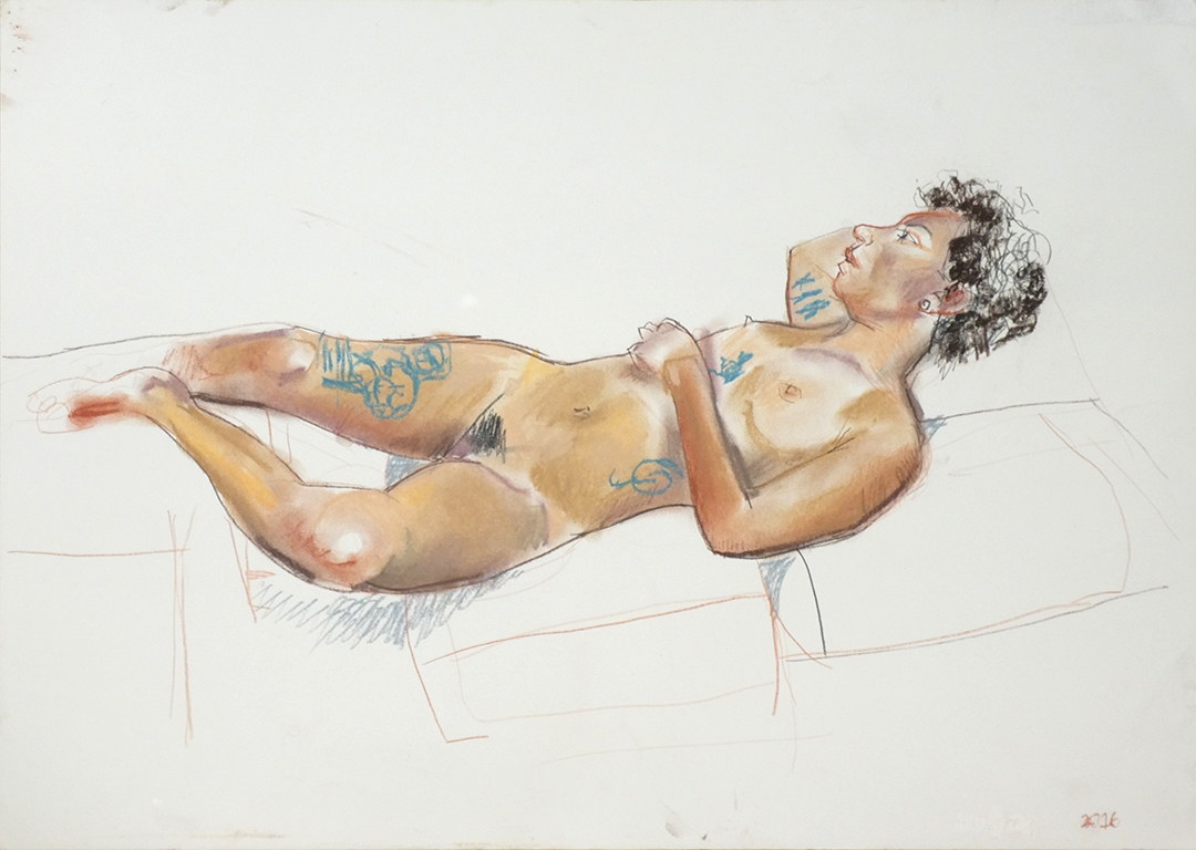 life drawing in pastels on cartridge paper - ' Harley' 2016