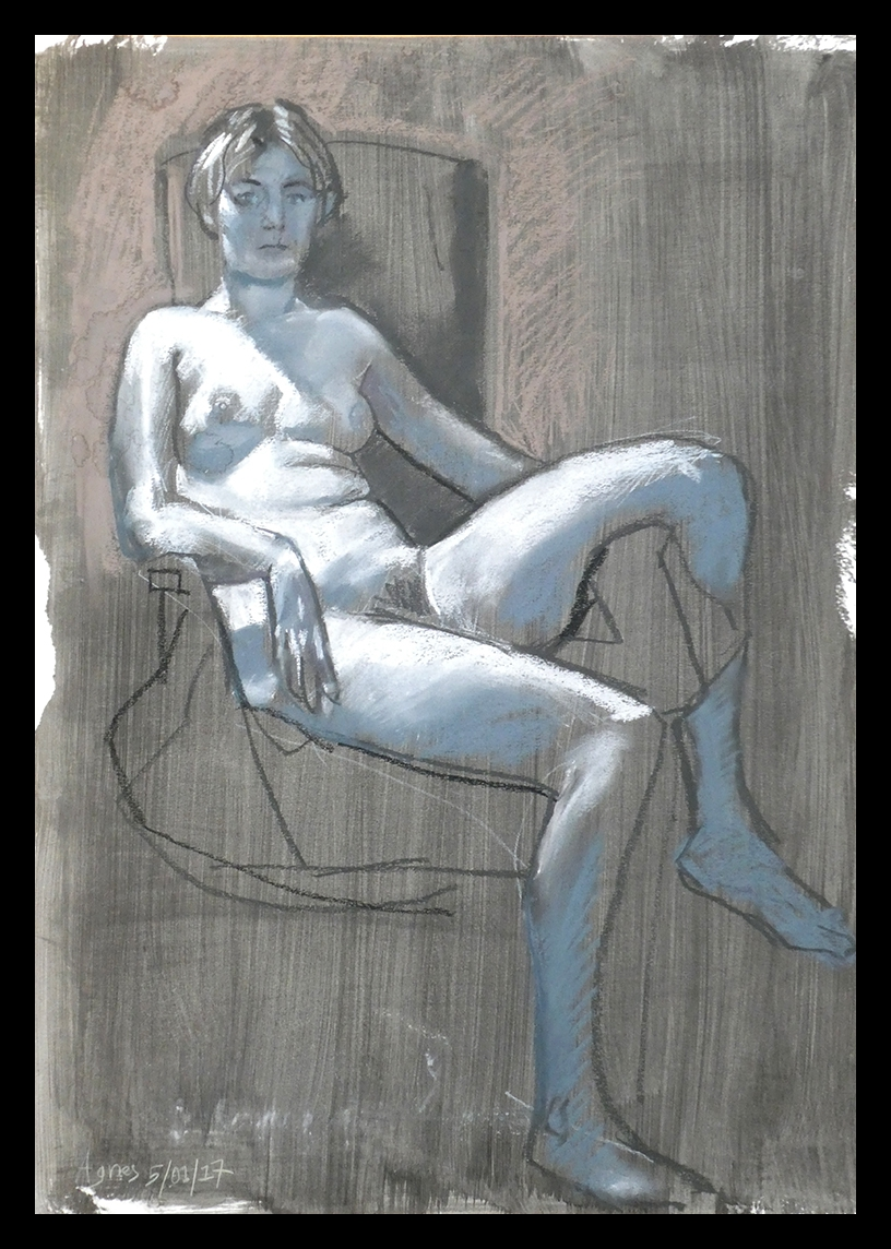 life drawing in pastels on prepared paper - 'Agnete', 05-01-17