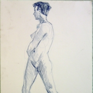 life drawing in coloured pencil - 'Rosie' 09-03-17-02