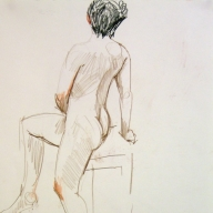 life drawing in coloured pencil - 'Rosie' 02-03-17