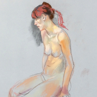 life drawing in pastels - 'Lucia', 30-11-17