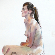 life drawing in pastels on cartridge paper - 'Clara' 20-04-17