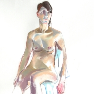 life drawing in pastels on cartridge paper  - 'Lucia' 18-05-2017