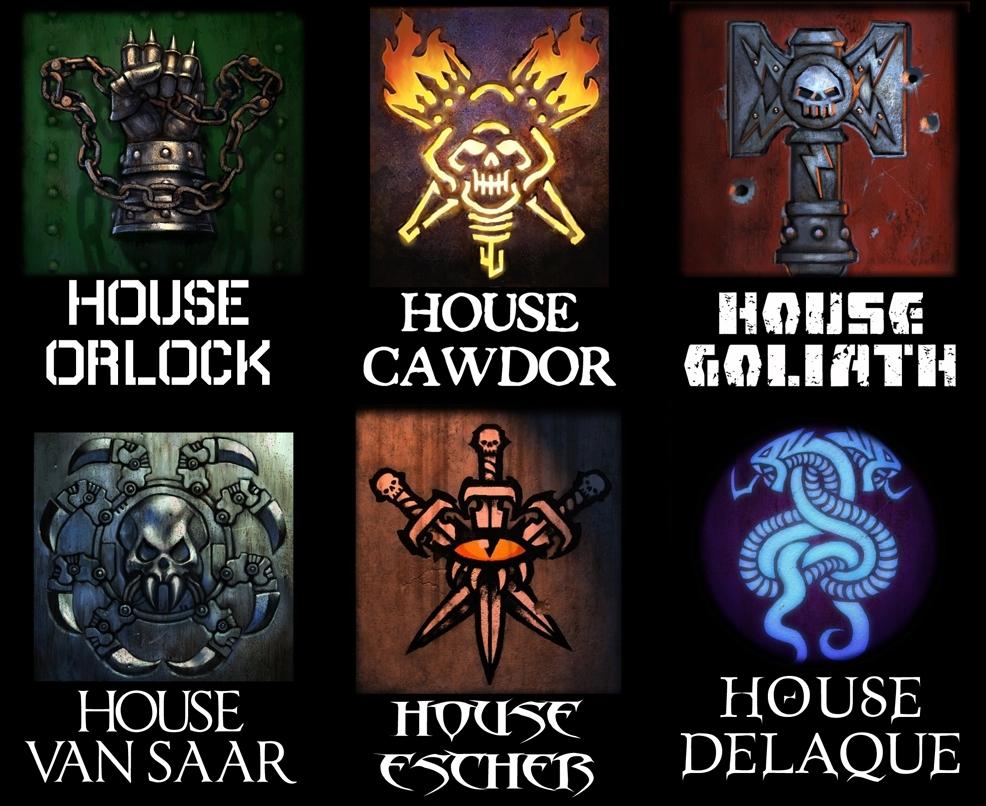 Designs for the house clan symbols of Necromunda.  Based on Wayne England's designs.