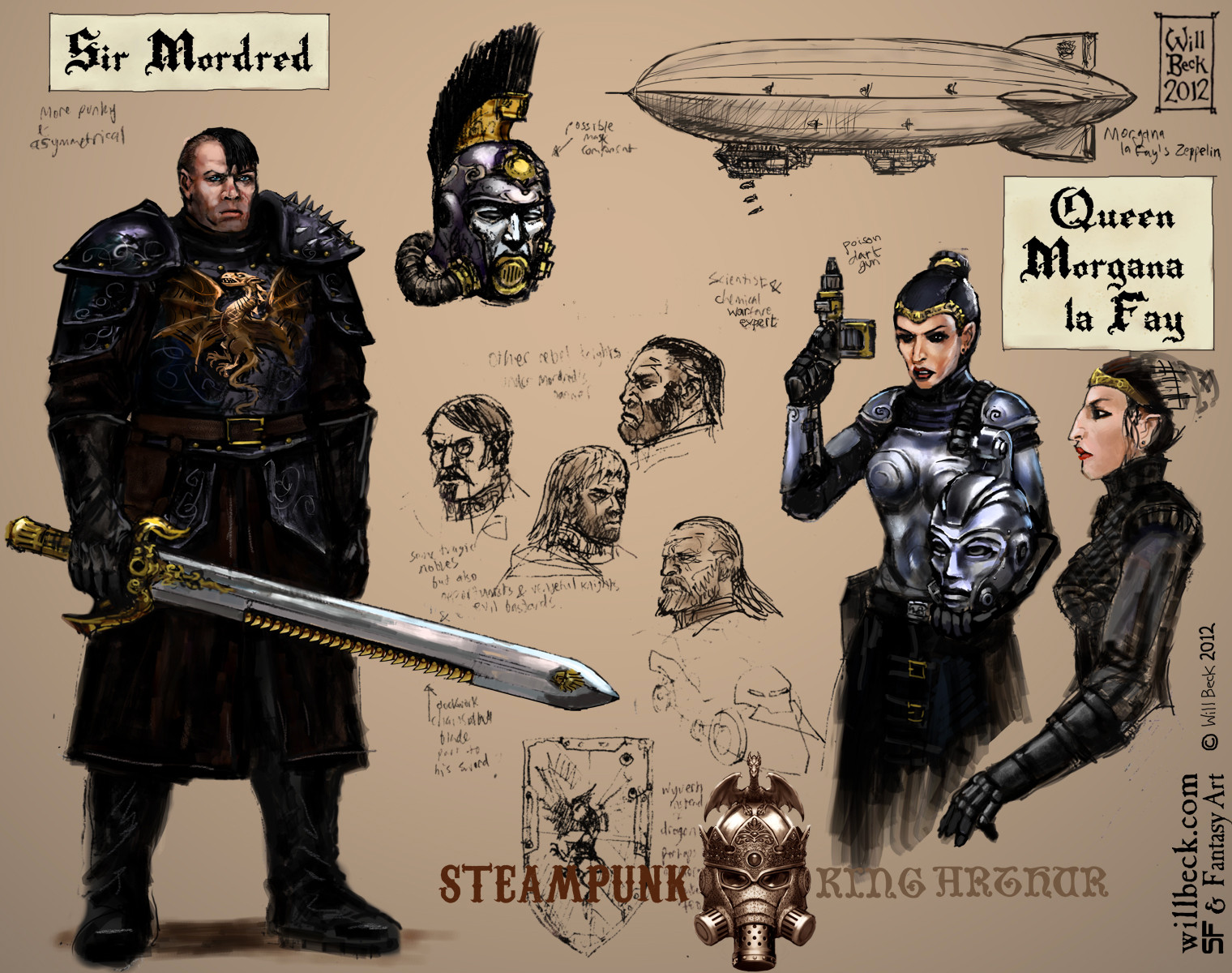 Steampunk Sir Mordred and Queen Morgana
