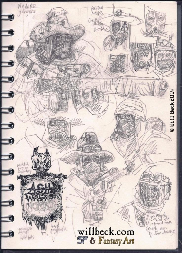 Necromunda Ash Waste nomad sketches. Fan art.