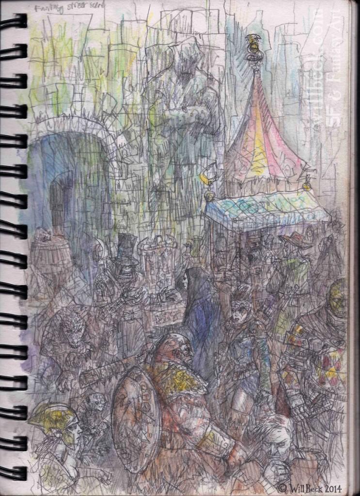 Fantasy market sketch
