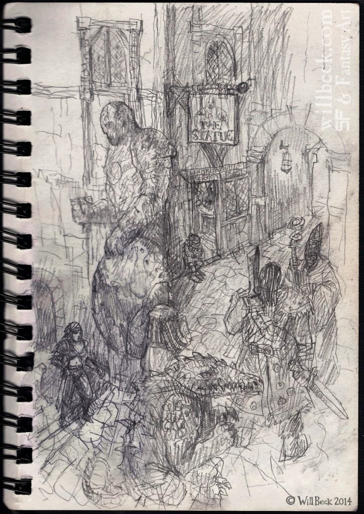 Fantasy tavern exterior scene